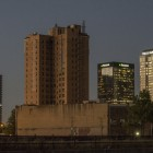 Thomas Jefferson Hotel now is dark gap in city's skyline. Photo by Walt Stricklin