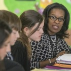 Principal Angela Watkins meeting with the Student Lighthouse Team. Photo by Walt Stricklin