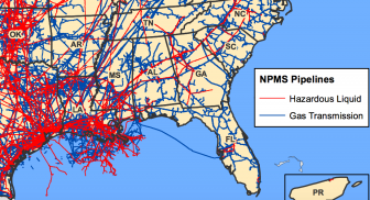 Southeast Detail: Gas Transmission and Hazardous Liquid Pipelines