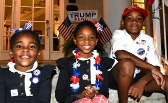 Samantha Taylor, 6, Whitney Taylor, 4, and Roman Jackson, 9, await returns at the Jefferson County Republican Party headquarters with their parents, Gerome and Tammi Taylor of Adamsville.