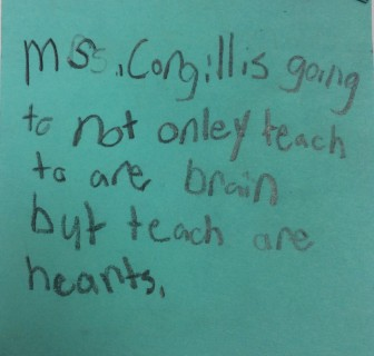 A post-it note found in a fourth-grader's notebook last year at Cherokee Bend Elementary School in Mountain Brook.