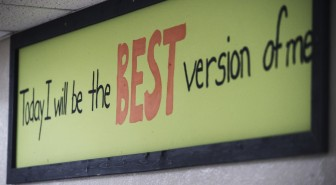 Mottos, mission statements and motivational signs abound in the school. Photo by Walt Stricklin