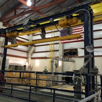 Inside treatment plant that processes river water