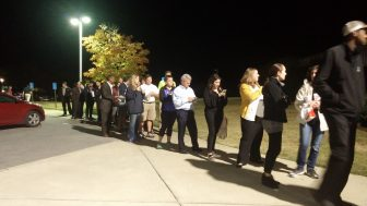 About 1,000 people remained in line at Hunter Street Baptist Church after polls officially closed Tuesday.